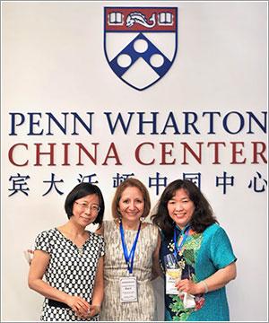 At the Penn Wharton China Center in Beijingare (l to r) Qian Lu of the Peking University Health Science Center School of Nursing, Penn Nursing Dean Antonia Villarruel, and Guifang Guo, Dean of the Health Science Center's School of Nursing