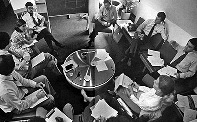 A 1979 staff meeting in Penn's Leonard Davis Institute of Health Economics (LDI).