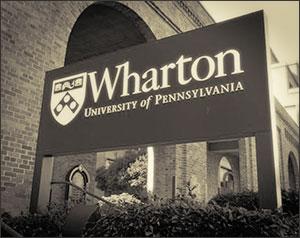 A vintage Wharton School sign
