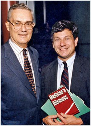 John Eisenberg, MD, and Penn Professor William Kissick, MD, MPH, celebrating the release of Kissick's book, 'Medicine's Dilemmas: Infinite Needs Versus Finite Resources.'