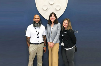 Picture of Penn Medicine Certified Recovery Specialists Bryant Rivera (L) and Nicole O'Donnell (R) with Professor of Emergency Medicine Jeanmarie Perrone, MD (center)