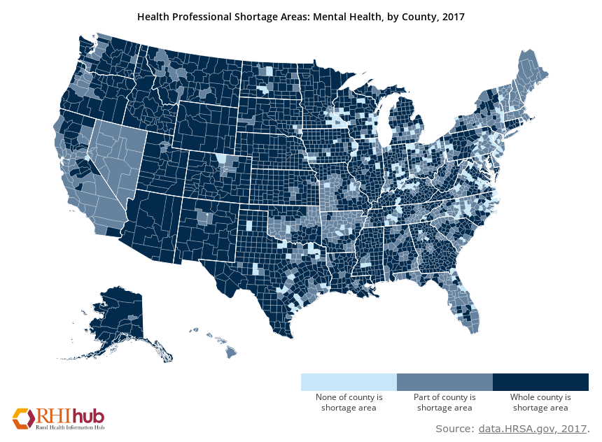 Map of United States counites to show health professional shortage areas in 2017