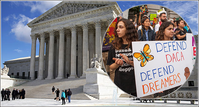 Protesters demonstrate in front of the U.S. Supreme Court