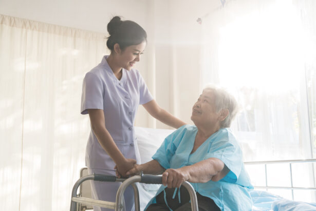 Asian nurse supporting elderly patient woman in using walker