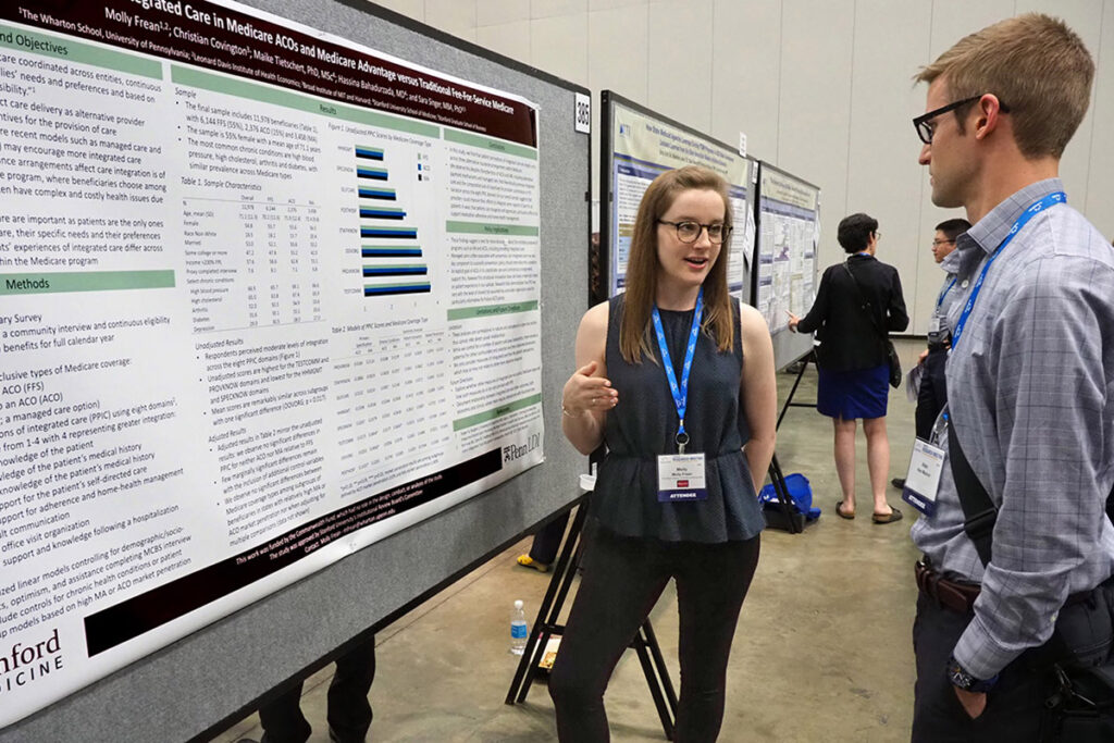 Wharton School Health Care Management PhD student and LDI Associate Fellow Molly Frean talks with Dartmouth Institute Research Project Manager Alex Mainor, JD, MPH
