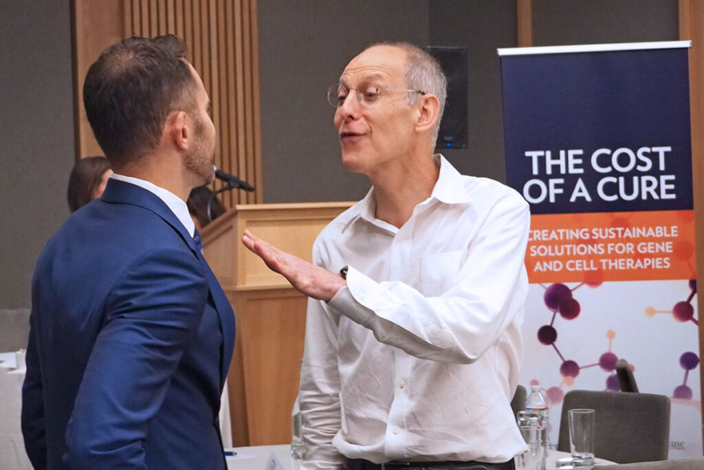 Ezekiel Emanuel, PhD, MD, Chair of Medical Ethics and Health Policy at the Perelman School of Medicine, makes an emphatic point with Spark Therapeutics CEO Jeff Marrazzo.
