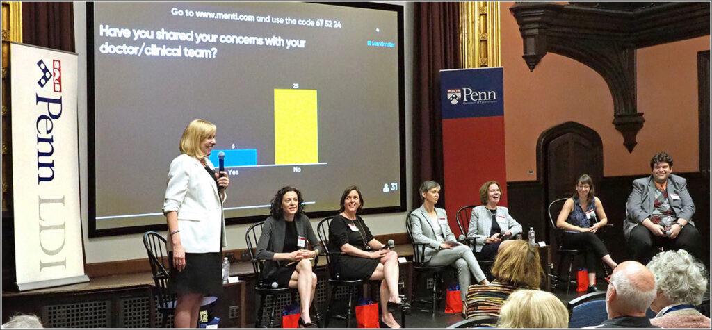 Nancy Hodgson, PhD, RN, FAAN, of Penn Nursing moderates a panel on home caregivers