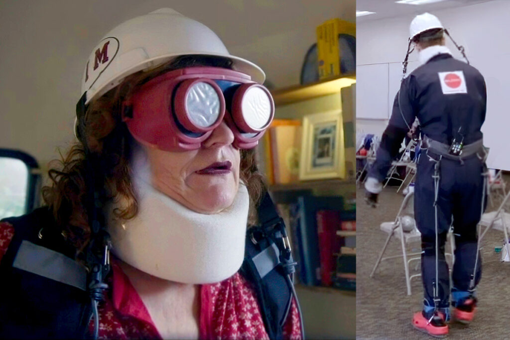 """Participants in an MIT project wear """"empathy suits"""" to emulate the physical restrictions of the elderly."""