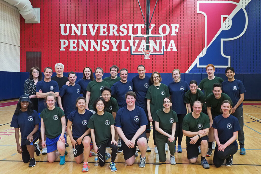 Group portrait - the 24 PhD students and faculty members participating in the 2018 Wharton Health Care Management Student-Faculty basketball game.
