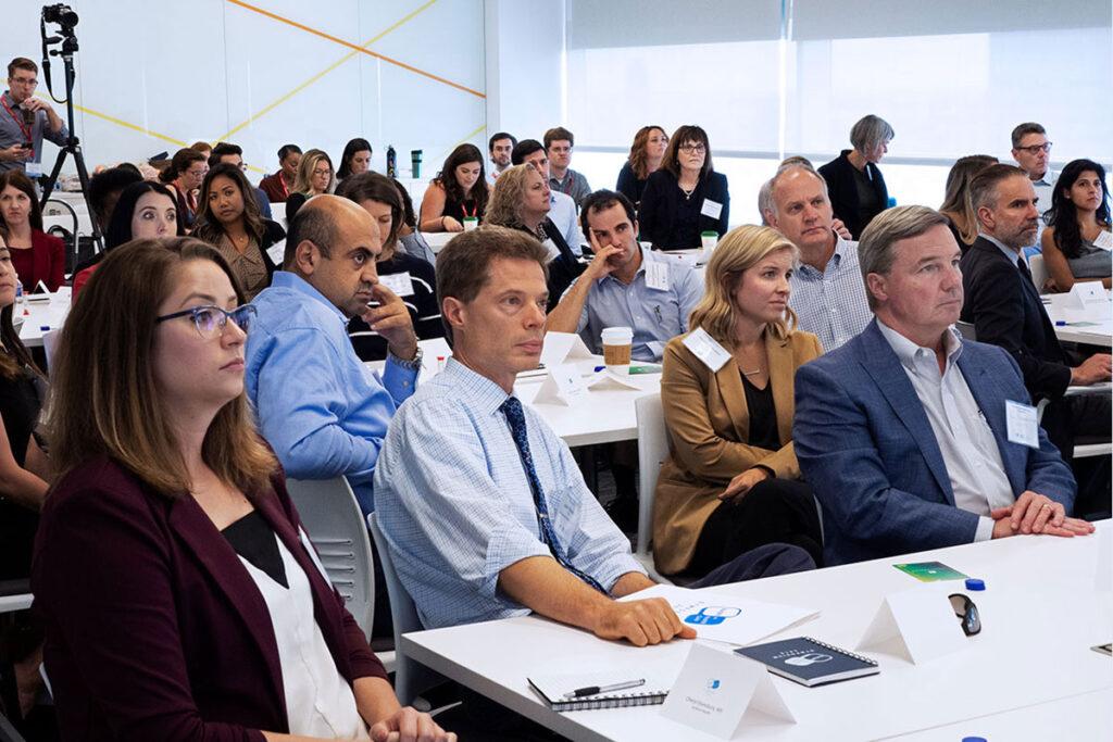 Audience at scientific presentation