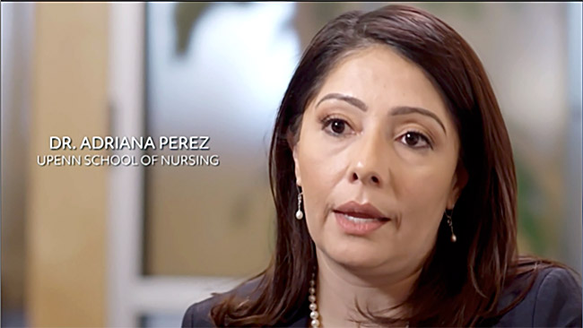 Penn School of Nursing professor Adriana Perez in a PBS documentary.