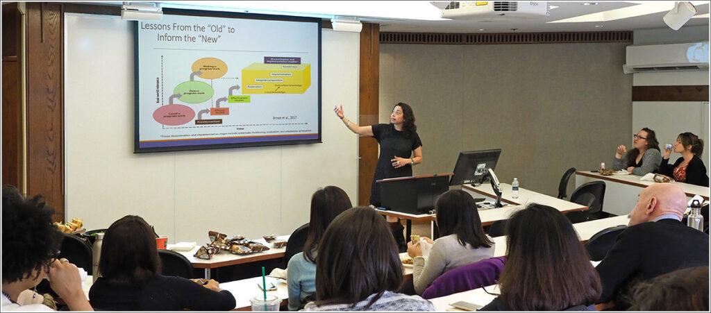 Lisa Saldana, PhD, leads an implementation science seminar at the University of Pennsylvania.