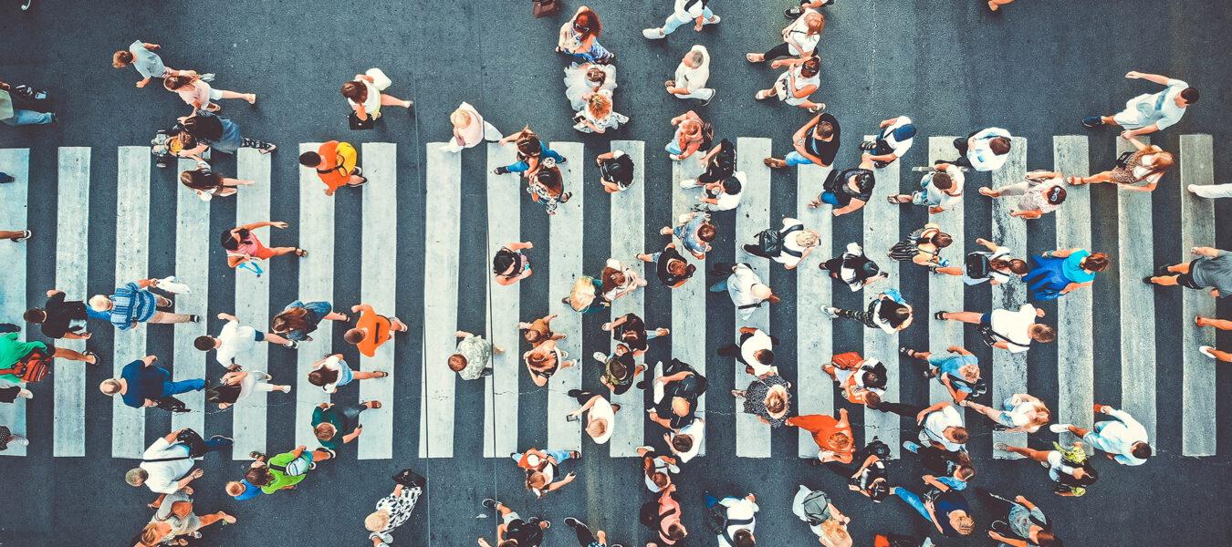 Aerial view of pedestrian crosswalk.