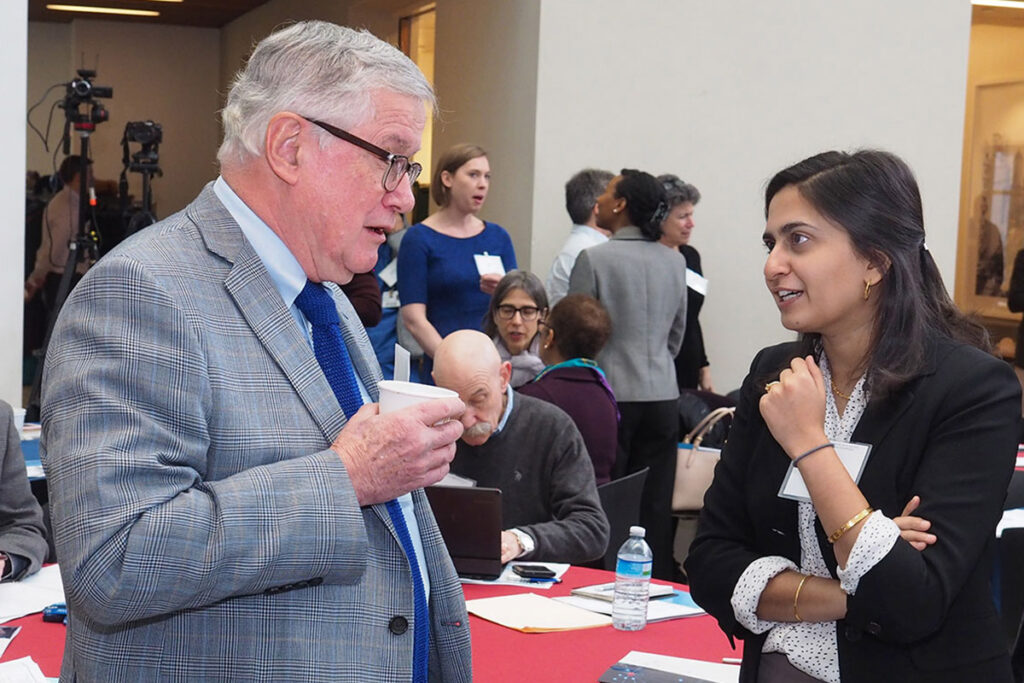 Wharton economist Mark Pauly, PhD, chats with Paula Chatterjee, MD, MPH, a Post-Doctoral Fellow in the Division of General Internal Medicine.
