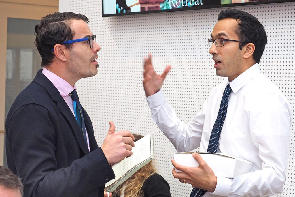Engaged in lively repartee are Markeplace's Dan Gorenstein and LDI Senior Fellow Atheendar Venkataramani, MD, PhD, an Assistant Professor at the Perelman School.