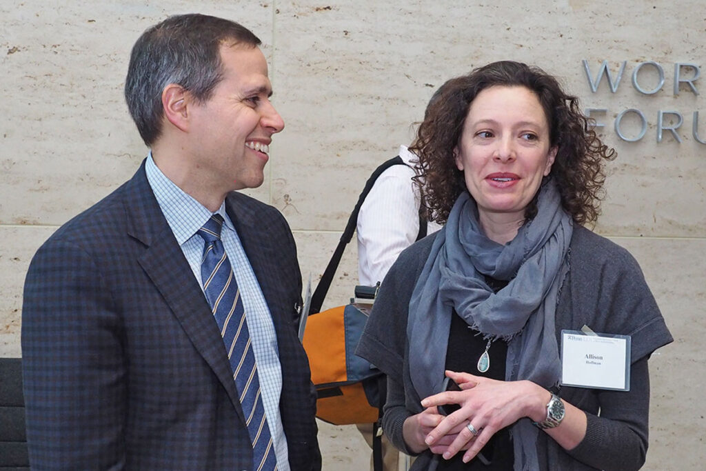 Daniel Polsky with the Law School's Allison Hoffman during a break in the Penn Health Care Policy Retreat
