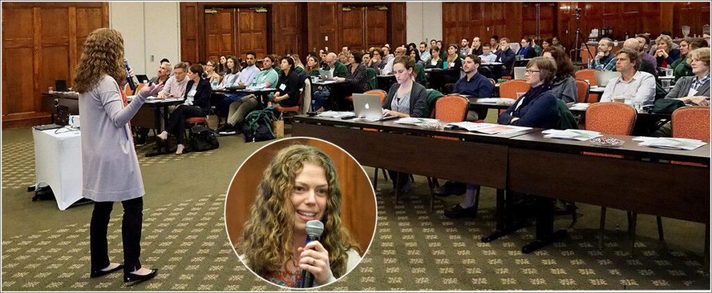 Wharton School professor Katherine Milkman presents before the 2018 Penn/CMU Roybal Behavioral Economics Retreat