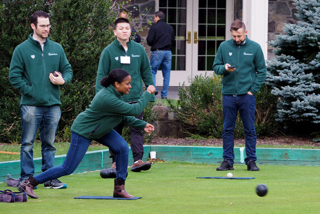 Alisa Stephens-Shields, PhD, of the Center for Clinical Epidemiology and Biostatistics Assistant Professor in a game of lawn bowling