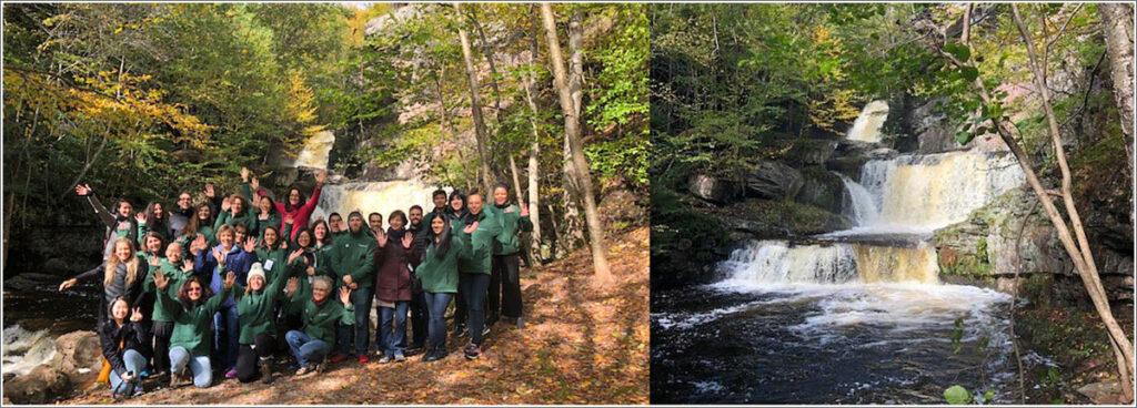 On a break, attendees at the 2018 Penn/CMU Roybal Behavioral Economics Retreat trek to a nearby Pocono waterfall.