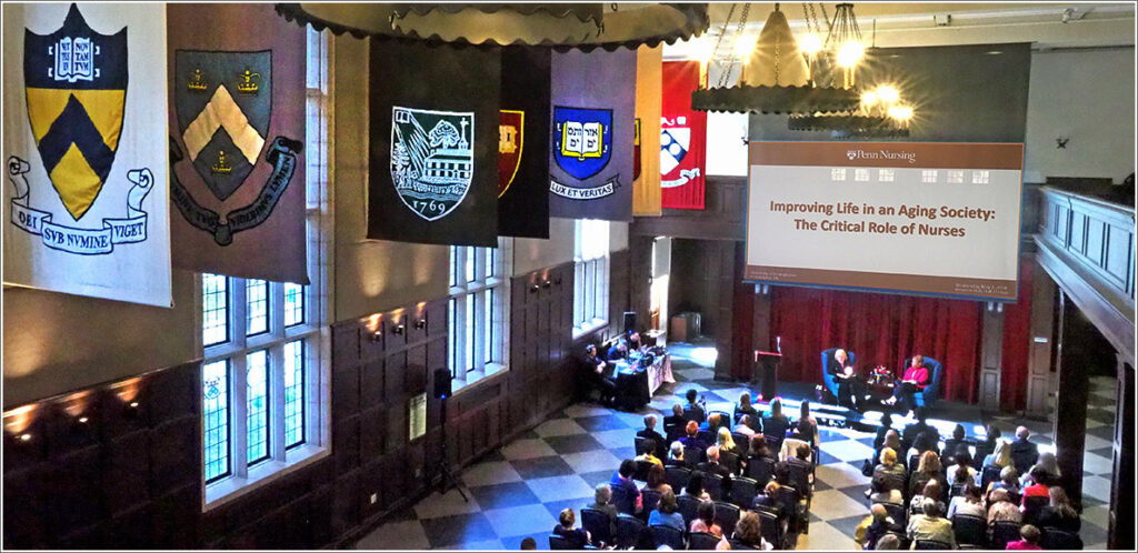 """Meeting in Penn's Hall of Flags, fifty national geriatric health care experts gathered for a two-day """"Think Tank"""" on care for vulnerable older adults"""