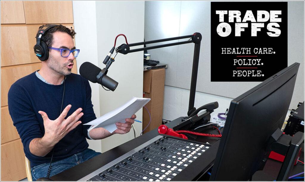 "Radio journalist Dan Gorenstein in his new ""Tradeoffs Podcast"" studio in the basement of Penn's Annenberg School."