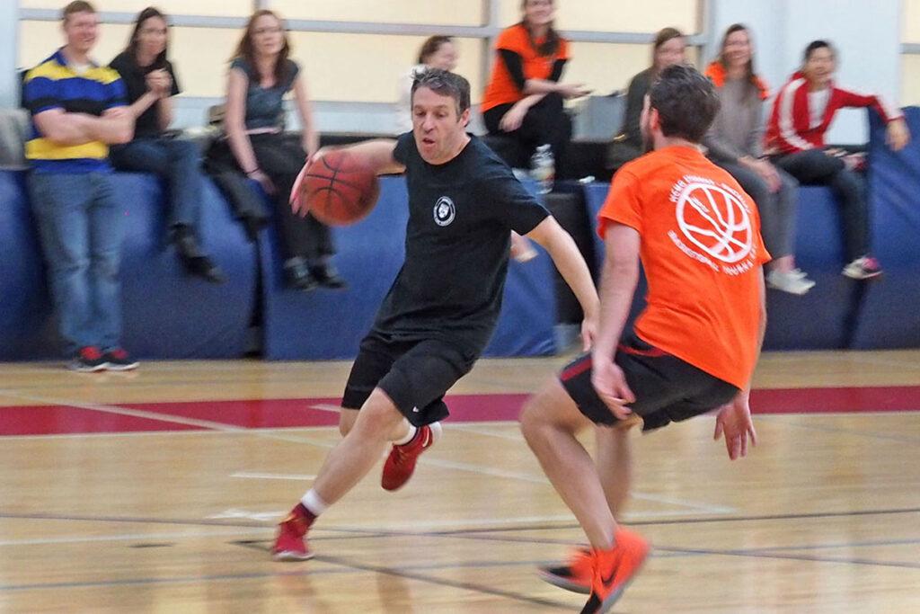 Wharton Professor Matthew Grennan on the basketball court