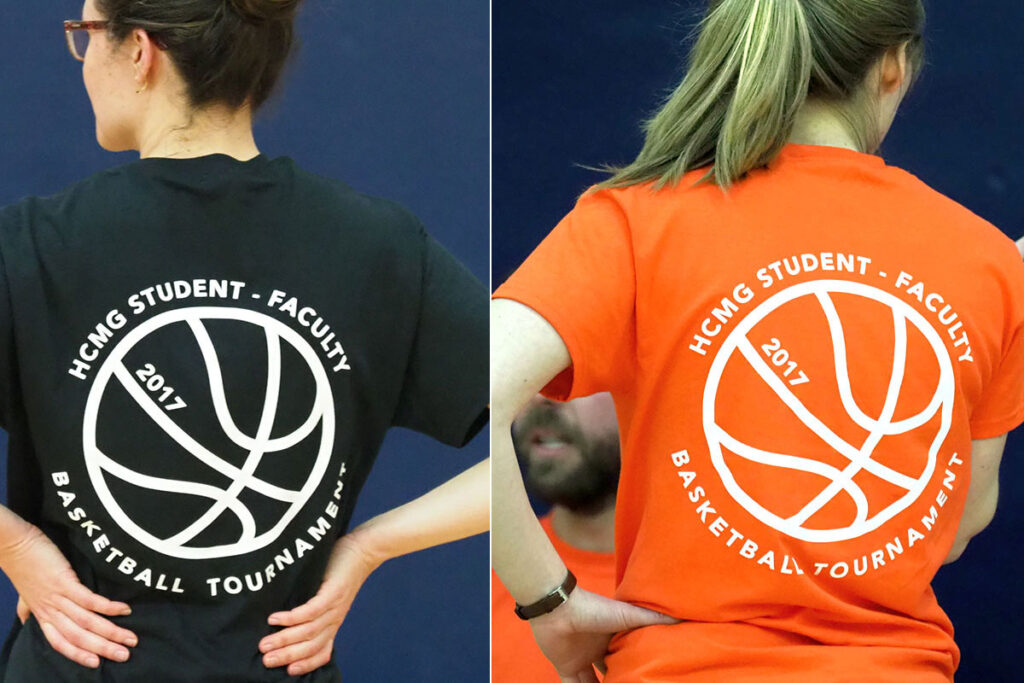 The black and orange shirts worn by the competing teams in the 2017 Wharton School faculty/PhD student basketball game