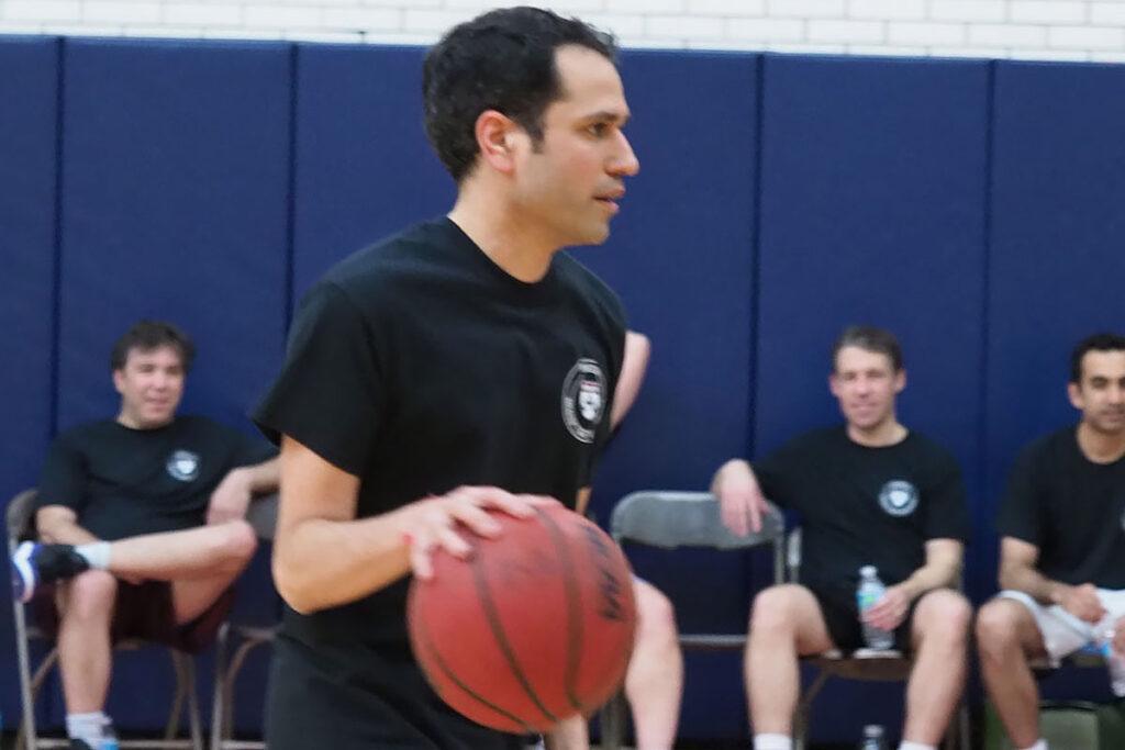 Perelman School of Medicine Assistant ProfessorShivan Mehta with a basketball