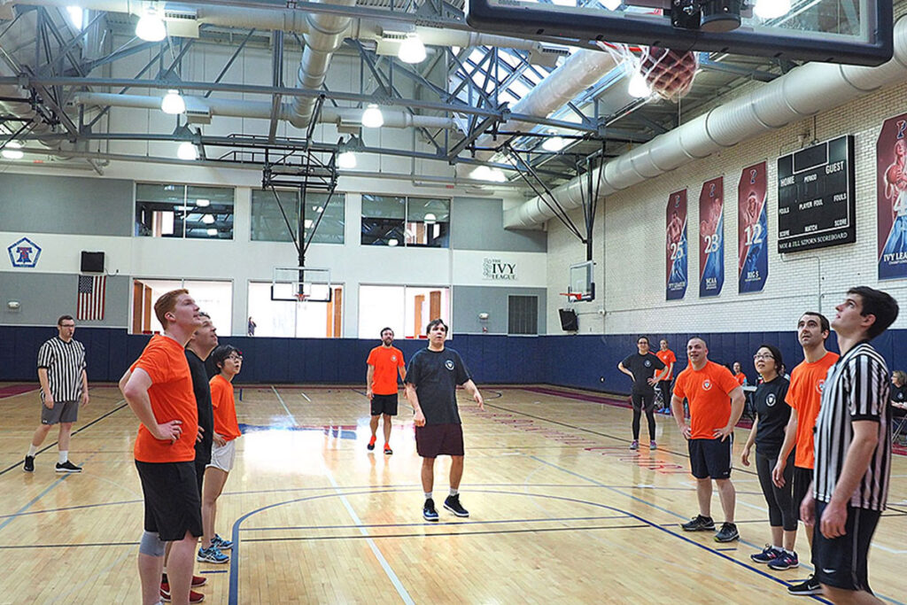 Law School Assistant Professor David Abramssinks a free throw shot