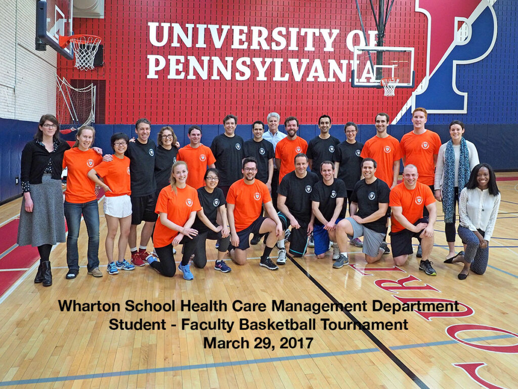 Group photo of the faculty and PhD student who played in the 2017 Wharton School Health Care Management basketball game
