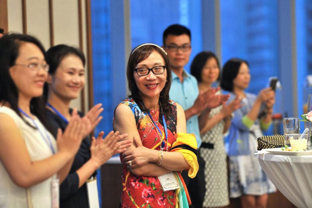 Penn Nursing'sJianghong Liu at the Penn Wharton China Center where she helped organize a nursing seminar.