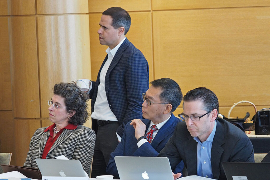Sarah Gant,Daniel Polsky, Chi Van Dang andMichael Aberman at a conference on precision medicine at Penn