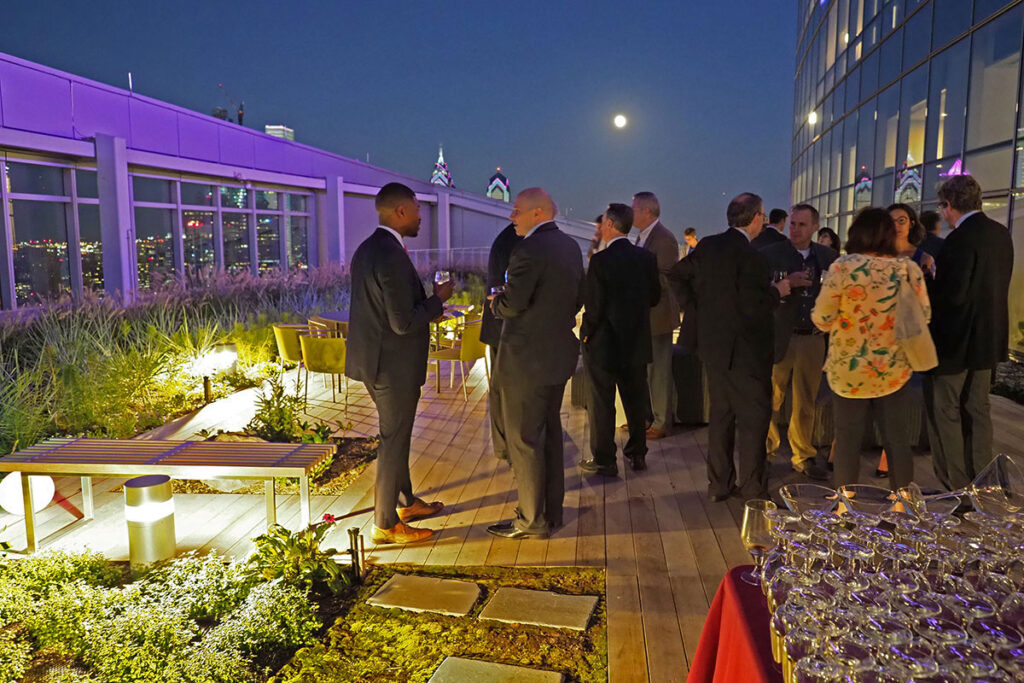 A full moon and city lights are the backdrop of the 2017 LDI 50th Anniversary reception