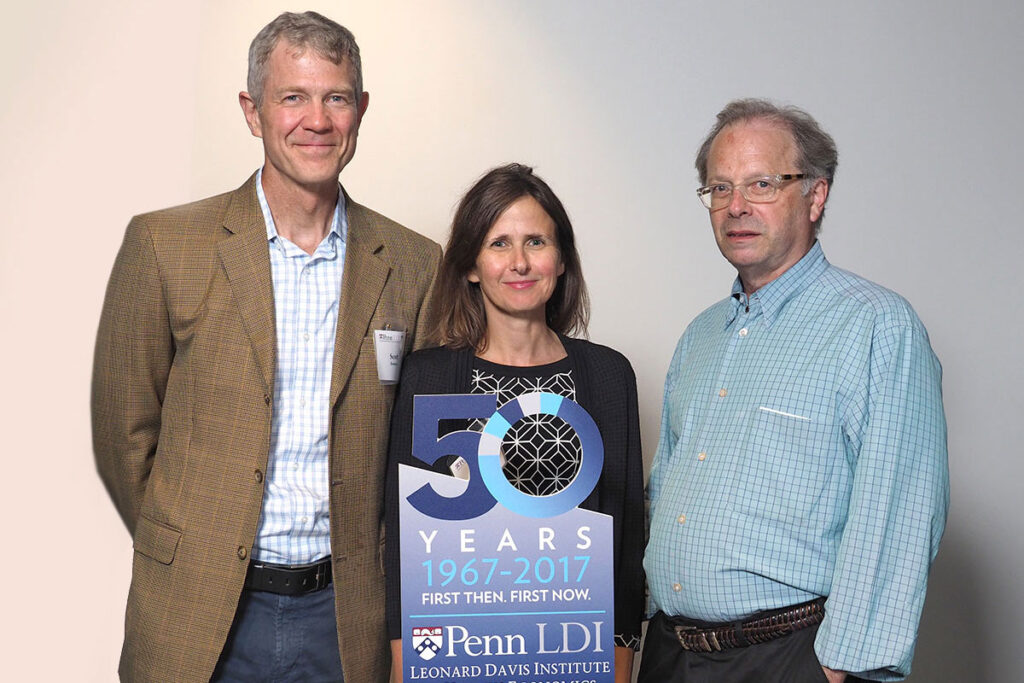 Scott Ramsey, MD, PhD, Director of the Hutchinson Institute for Cancer Outcomes Research, Kate Bundorf, PhD, MBA, MPH, Chief of the Division of Health Services Research at Stanford; and Henry Glick, PhD, Professor of both Medicine at the Perelman School