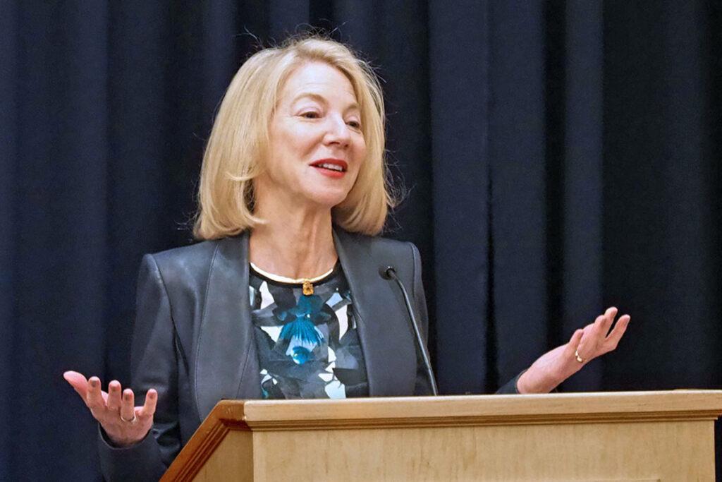 Penn President Amy Gutmann at the LDI 50th Anniversary Symposium
