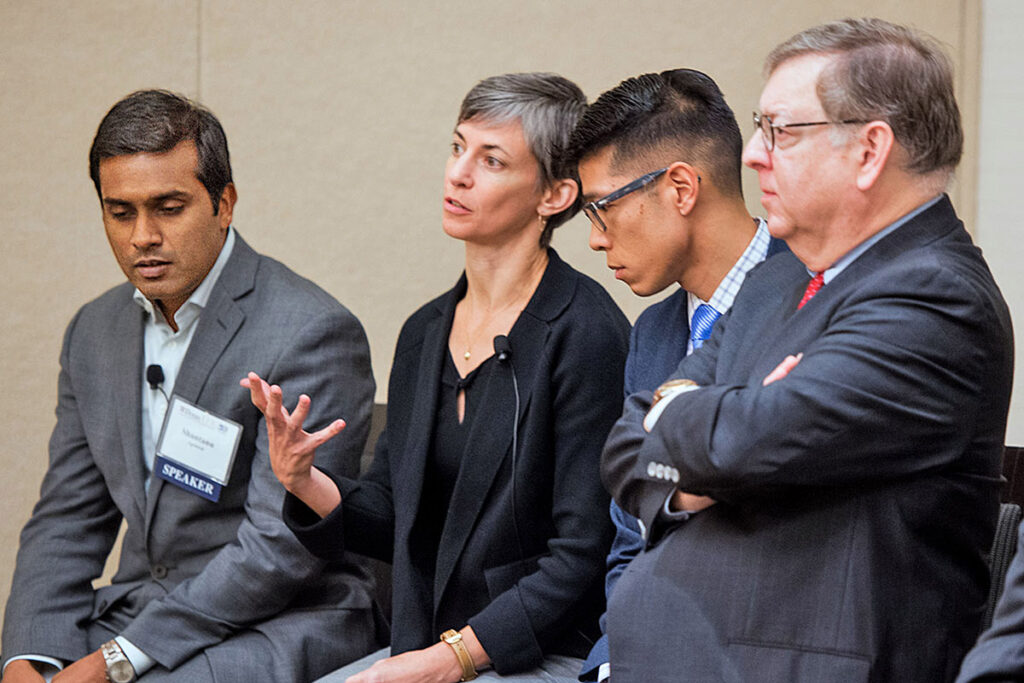 Shantanu Agrawal, MD, MPhil, President of the National Quality Forum; Rachel Werner, MD, PhD, Penn Professor of Medicine; and Pierre Yong, MD, MPH, MSHP, Director of Quality Measurement at the Centers for Medicare and Medicaid Services (CMS); and Jeffrey Silber, MD, PhD, of Penn Medicine