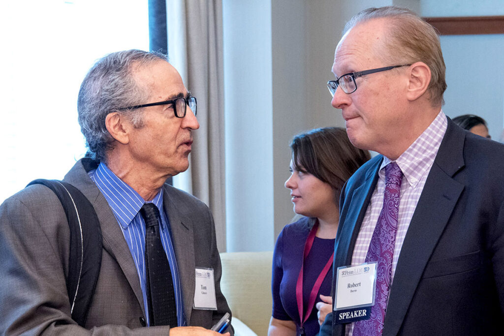 Thomas Gilmore, Principal in the Wharton-affiliated Center for Applied Research (CFAR)  chats with Lawton Burns, PhD, MBA, Wharton School Professor of Health Care Management