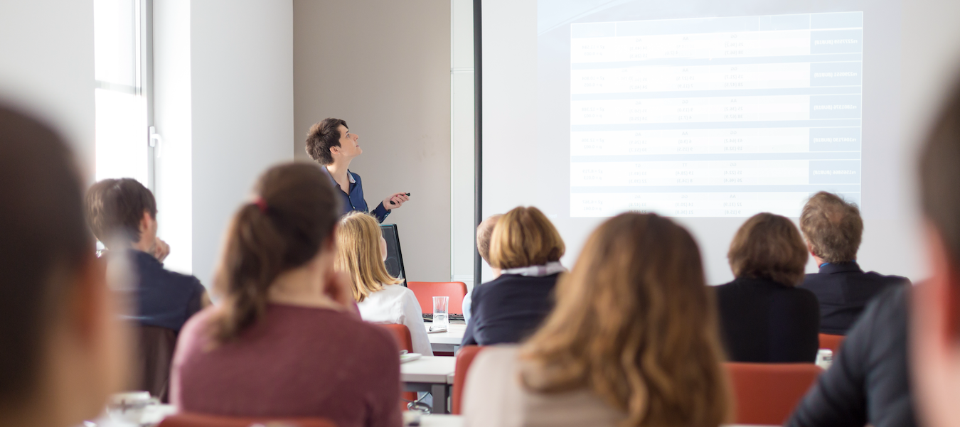 Woman giving presentation in conference room.