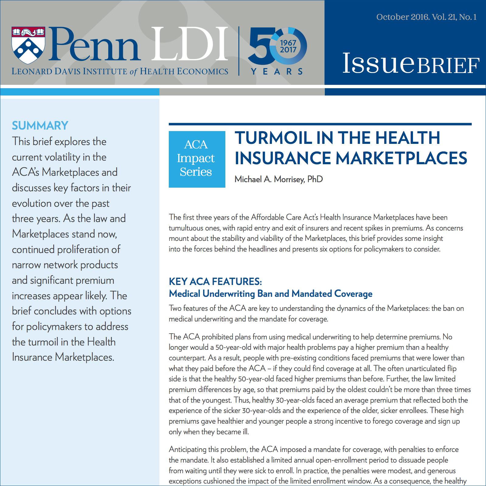 Turmoil In The Health Insurance Marketplaces Ldi