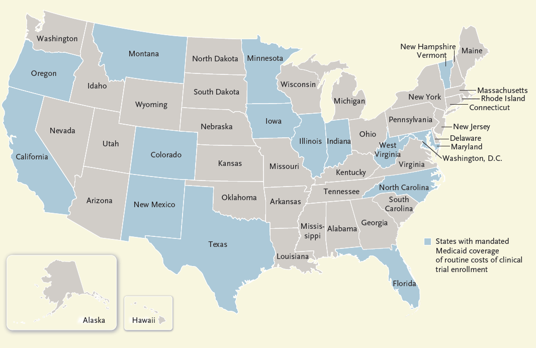 Map of States Mandating Coverage of Routine Trial Enrollment Costs